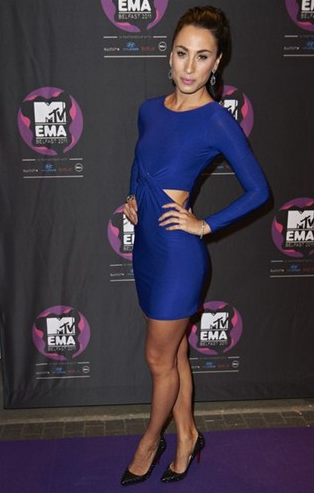 Blue dress and black shoes